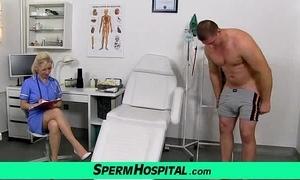 Stocking legs cougar doctor maya stroking penis farm cum essentially tits