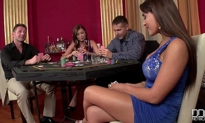 2 casino hookers get transcript permeated and fooling around in the first place cock