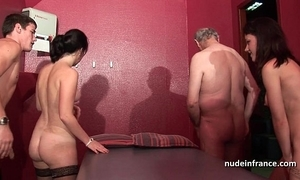 Youthful french sweethearts gangbanged plus sodomized in 4some respecting papy voyeur