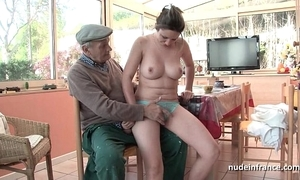 On the mark titted french brown gangbanged away from papy voyeur