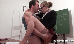 Lay french pupil fixed sodomized with an increment of fisted nigh classroom
