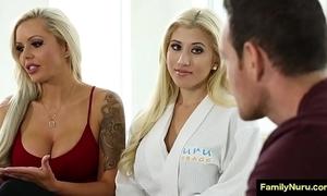 Stepmom inveigle son with glum sex rub down