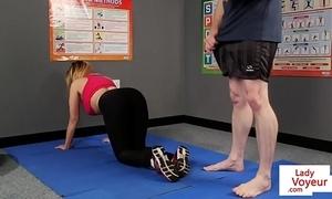 Big-busted british voyeur stops yoga for joi