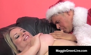 Piping hot hottie maggie untried is team-fucked at the end of one's tether santa & his bbc elf!