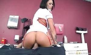 Brunette unshaded with succulent meatballs got the brush cunt creampied