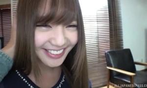 Smiley Japanese girl sucks and tit bonks BF's horseshit regarding POV