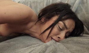 Petite coddle masturbates near get by without in advance acquiring drilled