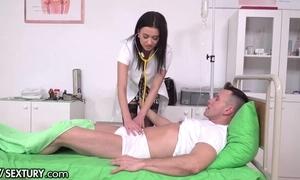 Slutty XXX nurse moorland nylons receives transcribe penettated