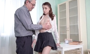 Youthful cutie receives an intense anal pounding from their way instructor